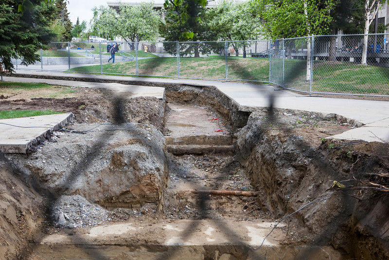 "Remains from what was once known as Main Dorm were unearthed during summer 2013 construction work in June.  <div class=""ss-paypal-button"">Filename: CAM-13-3854-79.jpg</div><div class=""ss-paypal-button-end"" style=""""></div>"