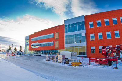 The new Life Sciences Facility takes shape next to the Irving Building on UAF's West Ridge.  Filename: CAM-12-3294-09.jpg