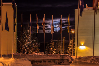 A full moon rises over the UAF campus in late December.  Filename: CAM-12-3686-18.jpg