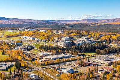 Aerial photo of the Fairbanks campus.  Filename: CAM-14-4311-422.jpg