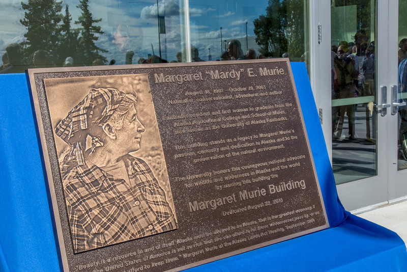 "A plaque commemorating Margaret Murie, a well-known naturalist and first women to graduate from the University of Alaska, is now mounted in a building bearing her name on the UAF campus.  <div class=""ss-paypal-button"">Filename: CAM-13-3912-088.jpg</div><div class=""ss-paypal-button-end"" style=""""></div>"