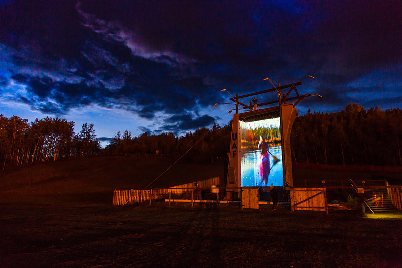 """A video image is projected on UAF's outdoor climbing wall during an late night promotional multi-media production.  <div class=""""ss-paypal-button"""">Filename: CAM-13-3925-23.jpg</div><div class=""""ss-paypal-button-end"""" style=""""""""></div>"""