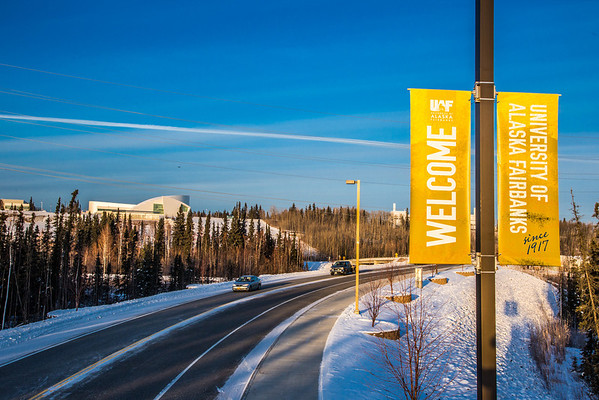"""Banners posted along Thompson Drive welcome people to campus.  <div class=""""ss-paypal-button"""">Filename: CAM-12-3633-26.jpg</div><div class=""""ss-paypal-button-end"""" style=""""""""></div>"""
