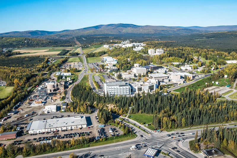 """An aerial view of UAF looking northwest at about 11:15 on Sept. 10, 2016, showing construction of the new combined heat and power plant being built adjacent to the existing unit which has been in use since the 1960s.  <div class=""""ss-paypal-button"""">Filename: CAM-16-4992-040.jpg</div><div class=""""ss-paypal-button-end""""></div>"""