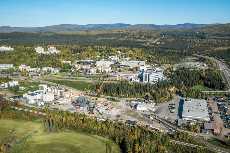 "An aerial view of UAF looking north at about 11:15 on Sept. 10, 2016, showing construction of the new combined heat and power plant being built adjacent to the existing unit which has been in use since the 1960s.  <div class=""ss-paypal-button"">Filename: CAM-16-4992-029.jpg</div><div class=""ss-paypal-button-end""></div>"