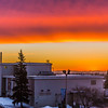 "A brilliant sunrise brightens the sky southeast of the Bunnell Building on the Fairbanks campus at about 9:15 a.m. on Wednesday, Feb. 5.  <div class=""ss-paypal-button"">Filename: CAM-14-4061-1.jpg</div><div class=""ss-paypal-button-end"" style=""""></div>"