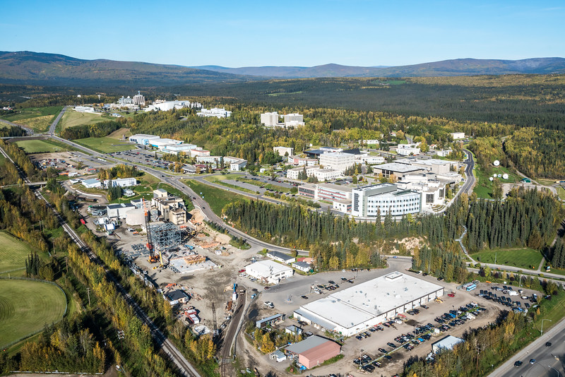 """An aerial view of UAF looking northwest at about 11:15 on Sept. 10, 2016, showing construction of the new combined heat and power plant being built adjacent to the existing unit which has been in use since the 1960s.  <div class=""""ss-paypal-button"""">Filename: CAM-16-4992-034.jpg</div><div class=""""ss-paypal-button-end""""></div>"""