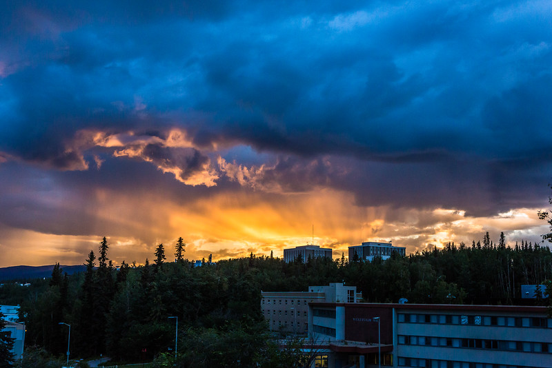 "The sun sets over the Fairbanks campus on August 8, 2016.  <div class=""ss-paypal-button"">Filename: CAM-16-4949-113.jpg</div><div class=""ss-paypal-button-end""></div>"