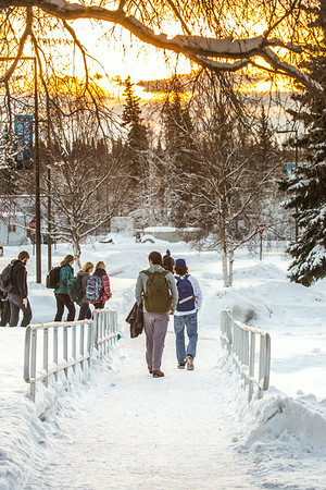 Students walk towards the Lolla Tilly Commons during a warm January afternoon on the Fairbanks campus.  Filename: CAM-14-4039-132.jpg