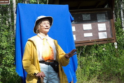 Teri Viereck speaks to the crowd during a dedication ceremony of the trail in honor of her late husband Les Viereck.  Filename: CAM-12-3435-38.jpg