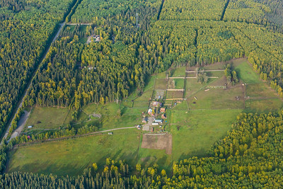 An aerial view of UAF's Large Animal Research Station taken Sept. 6, 2013.  Filename: CAM-13-3929-25.jpg