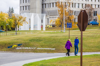 UAF's hashtag slogan appears at various locations around the Fairbanks campus.  Filename: CAM-12-3554-24.jpg