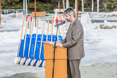 Doug Goering, dean of UAF's College of Engineering and Mines,  speaks at the official groundbreaking ceremony of the Duckering Building expansion project.  Filename: CAM-13-3772-34.jpg