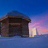 "The 19th century Russian blockhouse stands in stark contrast to the modern University of Alaska Museum of the North on the Fairbanks campus.  <div class=""ss-paypal-button"">Filename: CAM-12-3275-11.jpg</div><div class=""ss-paypal-button-end"" style=""""></div>"