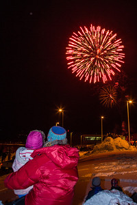 Hundreds of Fairbanks community members enjoyed the New Years' Eve fireworks display from UAF's West Ridge.  Filename: CAM-12-3687-3.jpg