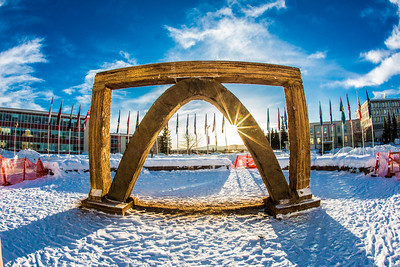 The 2013 ice arch, designed and built on the Fairbanks campus each spring by engineering students, was constructed of pykrete - a combination of water and sawdust.  Filename: CAM-13-3756-28.jpg