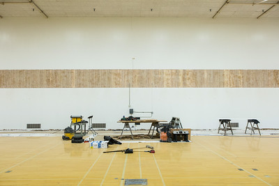 The Patty Gym is under construction in summer of 2014 replacing the bleachers.  Filename: CAM-14-4245-3.jpg
