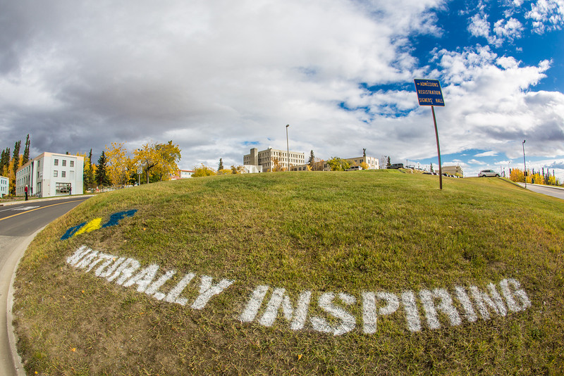 """UAF's hashtag slogan appears at various locations around the Fairbanks campus.  <div class=""""ss-paypal-button"""">Filename: CAM-12-3554-06.jpg</div><div class=""""ss-paypal-button-end"""" style=""""""""></div>"""