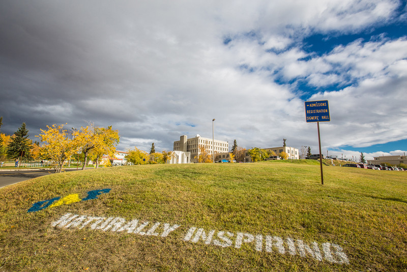 """UAF's hashtag slogan appears at various locations around the Fairbanks campus.  <div class=""""ss-paypal-button"""">Filename: CAM-12-3554-01.jpg</div><div class=""""ss-paypal-button-end"""" style=""""""""></div>"""