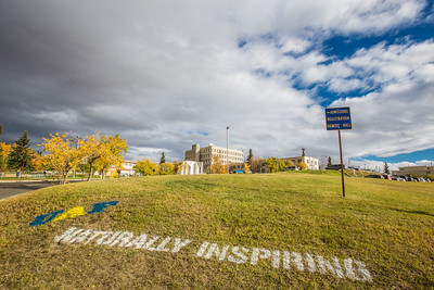 UAF's hashtag slogan appears at various locations around the Fairbanks campus.  Filename: CAM-12-3554-01.jpg
