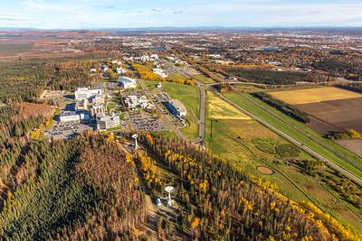 Aerial photo of the Fairbanks campus.  Filename: CAM-14-4311-486.jpg