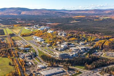 Aerial photo of the Fairbanks campus.  Filename: CAM-14-4311-438.jpg