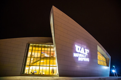 The branding tagline is projected onto the wall of the museum.  Filename: CAM-12-3636-14.jpg