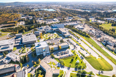 An aerial view above the UAF campus looking east toward Fairbanks at about 11:25 a.m. on Sept. 10, 2016.  Filename: CAM-16-4992-132.jpg