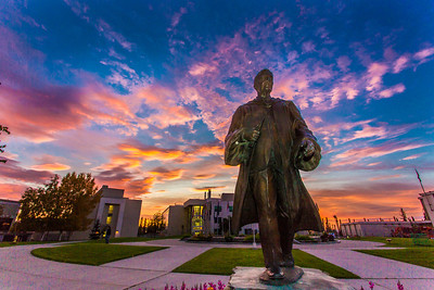 A beautiful sunrise greets students and employees as they arrive on campus Friday, Sept. 13.  Filename: CAM-13-3941-11.jpg