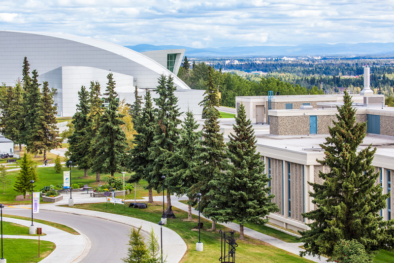 """The distinctive University of Alaska Museum of the North, at left, dominates the view from UAF's West Ridge.  <div class=""""ss-paypal-button"""">Filename: CAM-12-3505-03.jpg</div><div class=""""ss-paypal-button-end"""" style=""""""""></div>"""