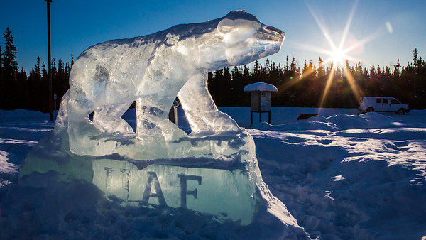 The Nanook ice sculpture greets visitors to campus from its home near the kiosk along Thompson Drive.  Filename: CAM-12-3327-08.jpg