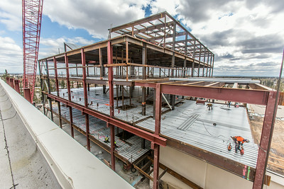 Construction is underway in May, 2014 on UAF's new engineering facility.  Filename: CAM-14-4177-81.jpg