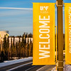 "Banners posted along Thompson Drive welcome people to campus.  <div class=""ss-paypal-button"">Filename: CAM-12-3633-38.jpg</div><div class=""ss-paypal-button-end"" style=""""></div>"