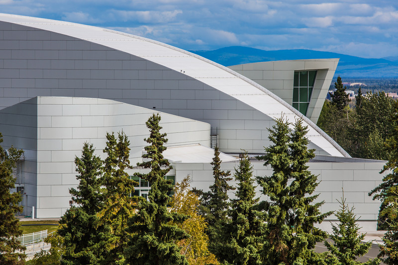 "The distinctive University of Alaska Museum of the North, at left, dominates the view from UAF's West Ridge.  <div class=""ss-paypal-button"">Filename: CAM-12-3505-19.jpg</div><div class=""ss-paypal-button-end"" style=""""></div>"