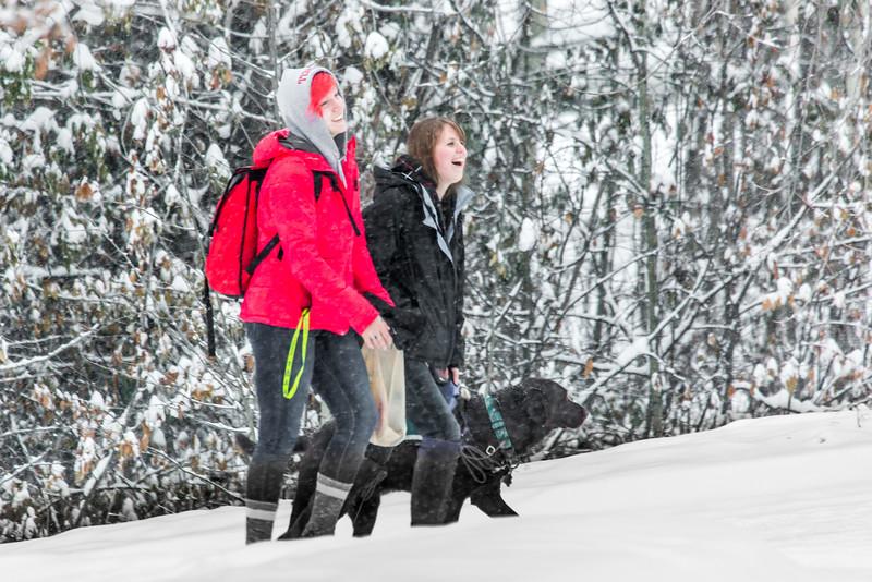 "UAF undergraduates Kendra Ashwell, left, and Linnea Doumas walk across campus with Chai, Linnea's black Lab service dog, during a snowfall Tuesday, Dec. 2.  <div class=""ss-paypal-button"">Filename: CAM-14-4397-30.jpg</div><div class=""ss-paypal-button-end""></div>"