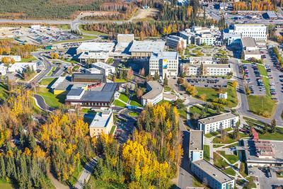 Aerial photo of the Fairbanks campus.  Filename: CAM-14-4311-302.jpg