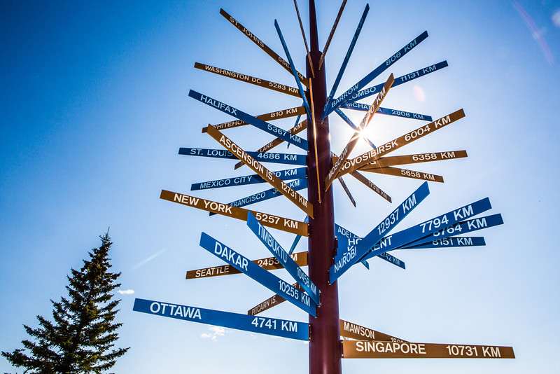 "The milepost sign in front of UAF's Gephysical Institute serves as a local landmark.  <div class=""ss-paypal-button"">Filename: CAM-12-3414-06.jpg</div><div class=""ss-paypal-button-end"" style=""""></div>"