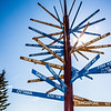 """The milepost sign in front of UAF's Gephysical Institute serves as a local landmark.  <div class=""""ss-paypal-button"""">Filename: CAM-12-3414-06.jpg</div><div class=""""ss-paypal-button-end"""" style=""""""""></div>"""