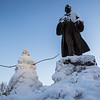 "A snowman stands next to the statue of Charles Bunnell at the Cornerstone Plaza on campus.  <div class=""ss-paypal-button"">Filename: CAM-13-4036-19.jpg</div><div class=""ss-paypal-button-end""></div>"