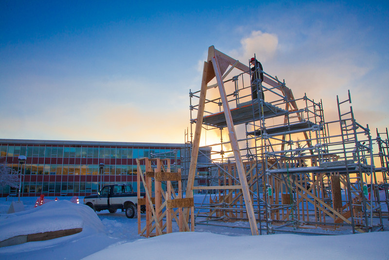 "Engineering majors Steve Lee, stands on the  scaffolding in preparation for construction of the 2012 ice arch going up in Cornerstone Plaza.  <div class=""ss-paypal-button"">Filename: CAM-12-3261-55.jpg</div><div class=""ss-paypal-button-end"" style=""""></div>"