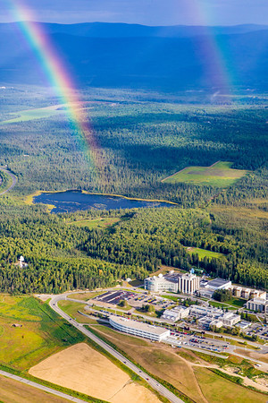 An early morning double rainbow graces the UAF campus on a summer day.  Filename: CAM-12-3497-156.jpg