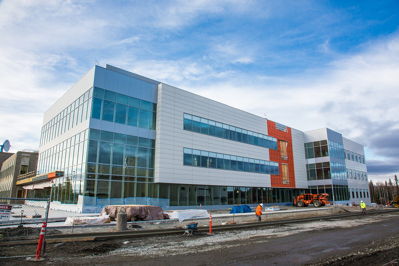 """The new Life Sciences building under construction on UAF's West Ridge.  <div class=""""ss-paypal-button"""">Filename: CAM-12-3569-14.jpg</div><div class=""""ss-paypal-button-end"""" style=""""""""></div>"""