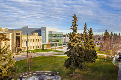 The Margaret Murie Building, home to the Department of Biology and Wildlife, is the newest addition to the UAF's campus.  Filename: CAM-13-3979-22.jpg