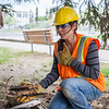 "Summer construction worker Randee Metayer stops for a portrait after showing remains from what was once known as Main Dorm were unearthed during summer 2013 construction work in June.  <div class=""ss-paypal-button"">Filename: CAM-13-3854-50.jpg</div><div class=""ss-paypal-button-end"" style=""""></div>"