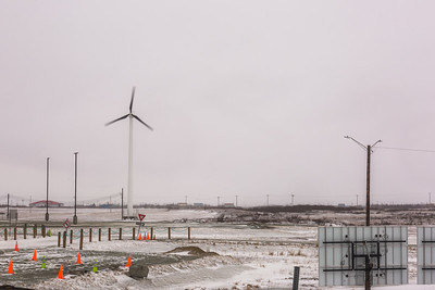 Frequent high winds sweeping through Southwest Alaska are being harnessed to help reduce high energy costs, as evidenced by this windmill spinning in Bethel.  Filename: CAM-16-4859-180.jpg