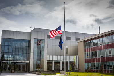 Flags throughout the nation were lowered to half staff in the aftermath of the mass shooting at a night club in Orlando, Florida.  Filename: CAM-16-4917-112.jpg