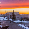 "A brilliant sunrise brightens the sky southeast of the Bunnell Building on the Fairbanks campus at about 9:15 a.m. on Wednesday, Feb. 5.  <div class=""ss-paypal-button"">Filename: CAM-14-4061-5.jpg</div><div class=""ss-paypal-button-end"" style=""""></div>"