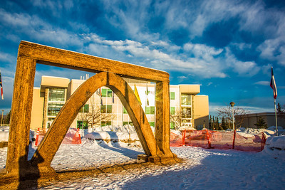 The 2013 ice arch, designed and built on the Fairbanks campus each spring by engineering students, was constructed of pykrete - a combination of water and sawdust.  Filename: CAM-13-3756-22.jpg