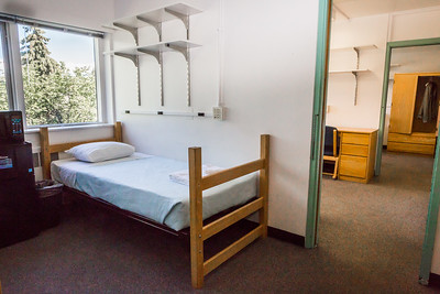 Wickersham Hall's double quad rooms include a connected study room suite and a bathroom.  Filename: CAM-16-4941-39.jpg