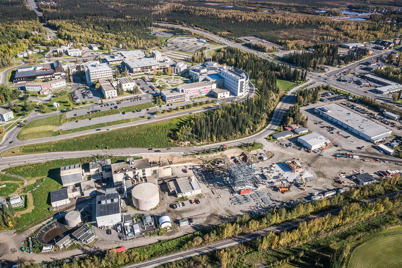 "An aerial view of UAF's new combined heat and power plant being built adjacent to the existing unit that's been in service since the 1960s.  <div class=""ss-paypal-button"">Filename: CAM-16-4992-069.jpg</div><div class=""ss-paypal-button-end""></div>"